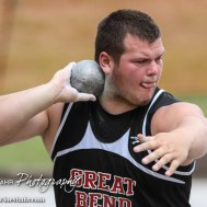 Jayce Brack of Great Bend begins to throw in the 5A Boys Shot Put during the Second Day of the 2014 KSHSAA State Track Meet at Cessna Stadium on the campus of Wichita State University in Wichita, Kansas on May 31, 2014. (Photo: Joey Bahr, www.joeybahr.com)