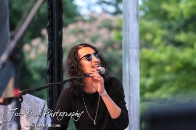 Pianist Jacob Thomas Jr. perfoms durning the Ellinwood After Harvest Festival at City Park in Ellinwood, Kansas on July 17, 2014. (Photo: Joey Bahr, www.joeybahr.com)