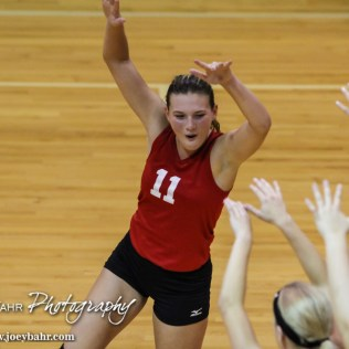 Kingman Lady Eagle Sada Smith (#11) celebrates winning a point during the Kingman Lady Eagles versus Larned Lady Indians volleyball match with Kingman winning 25-21, 24-26, 25-15 at Hoisington Activity Center in Hoisington, Kansas on September 9, 2014. (Photo: Joey Bahr, www.joeybahr.com)