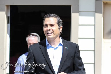 Greg Orman steps out to address the media following the WIBW 2014 Kansas State Fair Senate debate between United States Senator Pat Roberts and Greg Orman at Bretz-Young Injury Lawyers Arena on the Kansas State Fairgrounds in Hutchinson, Kansas on September 6, 2014. (Photo: Joey Bahr, www.joeybahr.com)