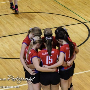 The Ellinwood Lady Eagles huddle up before starting a match during the 2014 Central Prairie League Volleyball Tournament at Hoisington Activity Center in Hoisington, Kansas on October 18, 2014. (Photo: Joey Bahr, www.joeybahr.com)