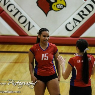 Ellinwood Lady Eagle Tawny Arndt (#15) celebrates scoring a point during the 2014 Central Prairie League Volleyball Tournament at Hoisington Activity Center in Hoisington, Kansas on October 18, 2014. (Photo: Joey Bahr, www.joeybahr.com)