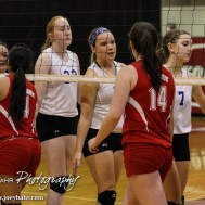 The St. John Lady Tigers and Kinsley Lady Coyotes shake hands following their match during the 2014 Central Prairie League Volleyball Tournament at Hoisington Activity Center in Hoisington, Kansas on October 18, 2014. (Photo: Joey Bahr, www.joeybahr.com)