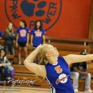 Otis-Bison Lady Cougar Shawna Serpan (#5) serves the ball during the Otis-Bison/LaCrosse Volleyball Tournament Pool Play at Otis-Bison High School in Otis, Kansas on September 13, 2014. (Photo: Joey Bahr, www.joeybahr.com)
