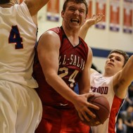Ell-Saline Cardinal Koby Ingalsbe (#24) goes up for a layup during the 2A Sub-State First Round Game with the Ellinwood Eagles vs the Ell-Saline Cardinals with Ellinwood winning 59 to 37 at Ellinwood High School in Ellinwood, Kansas on March 2, 2015. (Photo: Joey Bahr, www.joeybahr.com)