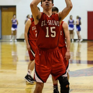 Ell-Saline Cardinal Kamdon Basinger (#15) shoots a free throw during the 2A Sub-State First Round Game with the Ellinwood Eagles vs the Ell-Saline Cardinals with Ellinwood winning 59 to 37 at Ellinwood High School in Ellinwood, Kansas on March 2, 2015. (Photo: Joey Bahr, www.joeybahr.com)