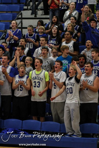 The Spearville Student Section cheers on the team during the 2A Sub-State First Round Game with the Spearville Lady Lancers vs the Kinsley Lady Coyotes with Spearville winning 66 to 53 at Spearville High School in Spearville, Kansas on March 3, 2015. (Photo: Joey Bahr, www.joeybahr.com)