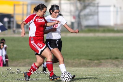 during the Great Bend Lady Panthers versus Liberal Lady Redskins Girls Soccer match with Great Bend winning 6 to 1 at Cavanaugh Soccer Complex in Great Bend, Kansas on April 7, 2015. (Photo: Joey Bahr, www.joeybahr.com)