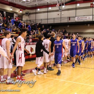 Members of the Ellinwood Eagles and Hoisington Cardinals shake hands following the 2016 Hoisington Winter Jam Boys Semi-Final Basketball game between the Hoisington Cardinals and the Ellinwood Eagles with Hoisington winning 42 to 39 of Hoisington Activity Center in Hoisington, Kansas on January 22, 2016. (Photo: Joey Bahr, www.joeybahr.com)