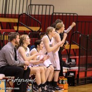 The LaCrosse Lady Leopard bench celebrates a game deciding free throw during the 2016 Hoisington Winter Jam Girls Semi-Final Basketball game between the LaCrosse Lady Leopards and the Hoisington Lady Cardinals with LaCrosse winning 42 to 39 of Hoisington Activity Center in Hoisington, Kansas on January 22, 2016. (Photo: Joey Bahr, www.joeybahr.com)