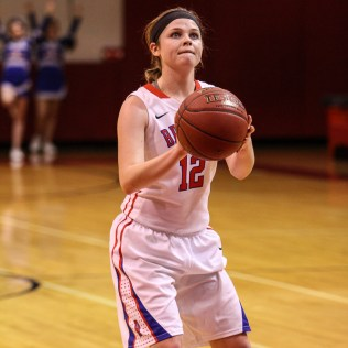 Russell Lady Bronco Sam Ptacek (#12) shoots a free throw during the 2016 Hoisington Winter Jam Girls Championship Basketball game between the LaCrosse Lady Leopards and the Russell Lady Broncos with LaCrosse winning 54 to 48 of Hoisington Activity Center in Hoisington, Kansas on January 23, 2016. (Photo: Joey Bahr, www.joeybahr.com)