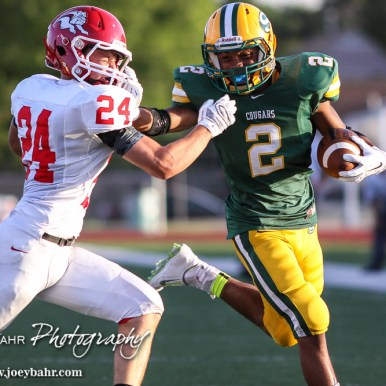 during the McPherson Bullpups versus Salina South Cougars High School Football gamme with Salina South winning 61 to 32