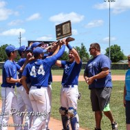 The St. Mary's Colgan Panther Seniors accept the KSHSAA Class 2-1A State Baseball Championship Trophy. The St. Mary's Colgan Panthers win the KSHSAA Class 2-1A State Baseball Championship over the Medicine Lodge Indians by a score of 13 to 3 at the Great Bend Sports Complex in Great Bend, Kansas on May 28, 2016. (Photo: Joey Bahr, www.joeybahr.com)