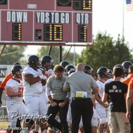 The Larned Indians huddle before the Hoisington Cardinal versus Larned Indian Football game with Hoisington winning 53 to 21 at Elton Brown Field in Hoisington, Kansas on September 4, 2015. (Photo: Joey Bahr, www.joeybahr.com)