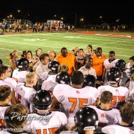 Larned Indian Head Coach A. B. Stokes addresses his team after the Hoisington Cardinal versus Larned Indian Football game with Hoisington winning 53 to 21 at Elton Brown Field in Hoisington, Kansas on September 4, 2015. (Photo: Joey Bahr, www.joeybahr.com)