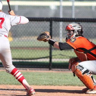 Larned Indian Catcher Tyler Stelter (#8) prepares to catch a pitch as Great Bend Chief Jared Maneth (#17) bats. The Great Bend Chiefs win game 1 of a American Legion baseball double header over the Larned Indians 7 to 6 after 8 innings at the Great Bend Sports Complex in Great Bend, Kansas on June 29, 2016. (Photo: Joey Bahr, www.joeybahr.com)