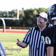 The Referee tosses the coin before the LaCrosse Leopards vs Minneapolis Lions football game with LaCrosse winning 24 to 14 at Bill Schoendaller Athletic Field in LaCrosse, Kansas on September 18, 2015. (Photo: Joey Bahr, www.joeybahr.com)