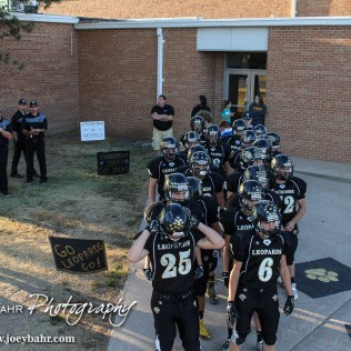 The LaCrosse Leopards line up to go to the field prior to the LaCrosse Leopards vs Minneapolis Lions football game with LaCrosse winning 24 to 14 at Bill Schoendaller Athletic Field in LaCrosse, Kansas on September 18, 2015. (Photo: Joey Bahr, www.joeybahr.com)