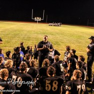 LaCrosse Leopard Head Coach Jon Webster addresses his team following the LaCrosse Leopards vs Minneapolis Lions football game with LaCrosse winning 24 to 14 at Bill Schoendaller Athletic Field in LaCrosse, Kansas on September 18, 2015. (Photo: Joey Bahr, www.joeybahr.com)