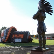 The new Indian statue looks towards the field. The Pratt Greenbacks win 31 to 16 over the Larned Indians at Earl Roberts Field in Larned, Kansas on September 2, 2016. (Photo: Joey Bahr, www.joeybahr.com)