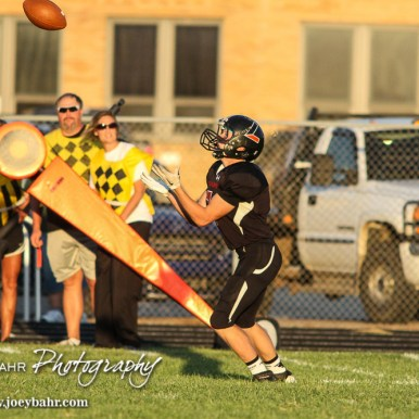 Larned Indian Shevin Martin (#7) lines up to catch a punt. The Pratt Greenbacks win 31 to 16 over the Larned Indians at Earl Roberts Field in Larned, Kansas on September 2, 2016. (Photo: Joey Bahr, www.joeybahr.com)