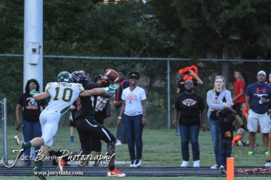 Pratt Greenback Noah Myers (#10) breaks up a pass to Larned Indian Damontay Phillips (#3). The Pratt Greenbacks win 31 to 16 over the Larned Indians at Earl Roberts Field in Larned, Kansas on September 2, 2016. (Photo: Joey Bahr, www.joeybahr.com)