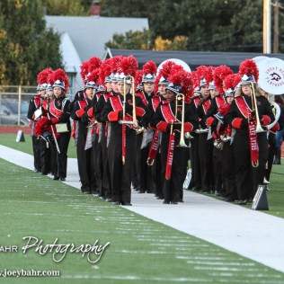 The Great Bend High School Marching Panther Band waits to take the field. The Garden City Buffaloes defeated the Great Bend Panthers 21 to 14 in Overtime to win the Western Athletic Conference title at Memorial Stadium in Great Bend, Kansas on October 21, 2016. (Photo: Joey Bahr, www.joeybahr.com)