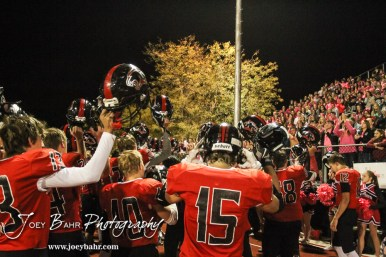 The Great Bend Panthers thank their fans following the game. The Garden City Buffaloes defeated the Great Bend Panthers 21 to 14 in Overtime to win the Western Athletic Conference title at Memorial Stadium in Great Bend, Kansas on October 21, 2016. (Photo: Joey Bahr, www.joeybahr.com)