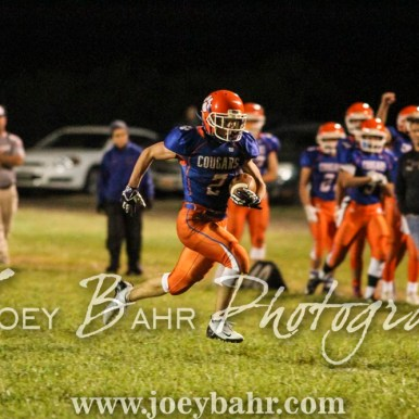 Otis-Bison Cougar Tristen Dean (#2) dashes down the field. The Otis-Bison Cougars defeated the Greeley County Jackrabbits 62 to 6 at Cougar Field in Otis, Kansas on October 7, 2016. (Photo: Joey Bahr, www.joeybahr.com)