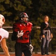Ellsworth Bearcat Kaden Davis (#13) scores a touchdown. The Hoisington Cardinals defeated the Ellsworth Bearcats 39 to 20 at Shanelac Field in Ellsworth, Kansas on October 14, 2016. (Photo: Joey Bahr, www.joeybahr.com)
