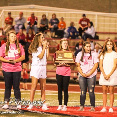 The Hoisington Cardinal Ladies Golf Team hold their Third Place Trophy from the State Tournament. The Hoisington Cardinals defeated the Lyons Lions to win the KSHSAA Class 3A District 15 Championship at Elton Brown Field in Hoisington, Kansas on October 27, 2016. (Photo: Joey Bahr, www.joeybahr.com)