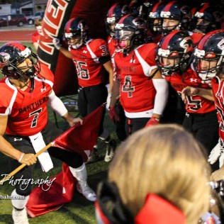 Great Bend Panther Jacob Murray (#7) prepares to lead his team onto the field for the game. The Great Bend Panthers defeated the Topeka West Chargers 70 to 31 in a KSHSAA Class 5A First Round matchup. at Memorial Stadium in Great Bend, Kansas on October 28, 2016. (Photo: Joey Bahr, www.joeybahr.com)