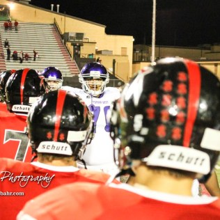 Members of the Great Bend Panthers and Topeka West Chargers shake hands following the game. The Great Bend Panthers defeated the Topeka West Chargers 70 to 31 in a KSHSAA Class 5A First Round matchup. at Memorial Stadium in Great Bend, Kansas on October 28, 2016. (Photo: Joey Bahr, www.joeybahr.com)