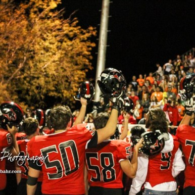 The Great Bend Panthers salute their fans following the game. The Great Bend Panthers defeated the Topeka West Chargers 70 to 31 in a KSHSAA Class 5A First Round matchup. at Memorial Stadium in Great Bend, Kansas on October 28, 2016. (Photo: Joey Bahr, www.joeybahr.com)