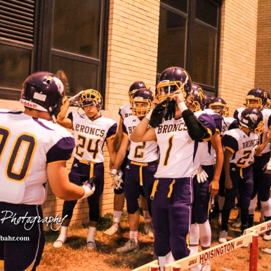 The Lakin Broncs prepare to take the field. The Hoisington Cardinals defeated the Lakin Broncs in the KSHSAA Class 3A Bi-District game with a score of 56 to 13 at Elton Brown Field in Hoisington, Kansas on November 1, 2016. (Photo: Joey Bahr, www.joeybahr.com)