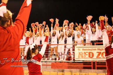 The Hoisington Cardinal Student Section celebrate a touchdown being scored. The Hoisington Cardinals defeated the Lakin Broncs in the KSHSAA Class 3A Bi-District game with a score of 56 to 13 at Elton Brown Field in Hoisington, Kansas on November 1, 2016. (Photo: Joey Bahr, www.joeybahr.com)
