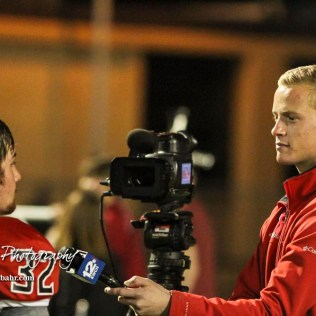 KWCH Reporter, Gardner Royce, interviews Great Bend Panther Payton Mauler (#32) following the game. The Great Bend Panthers defeated the Andover Trojans in the KSHSAA Class 5A Regional playoff game with a score of 16 to 7 at Memorial Stadium in Great Bend, Kansas on November 4, 2016. (Photo: Joey Bahr, www.joeybahr.com)