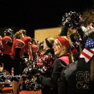 The Great Bend Cheerleaders gather with the team to thank the fans for attending the game. The Great Bend Panthers defeated the Valley Center Hornets to win the KSHSAA Class 5A Sectional by a score of 28 to 24 at Memorial Field in Great Bend, Kansas on November 11, 2016. (Photo: Joey Bahr, www.joeybahr.com)
