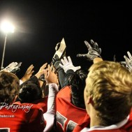The Great Bend Panthers hold up the Sectional Champion trophy after the game. The Great Bend Panthers defeated the Valley Center Hornets to win the KSHSAA Class 5A Sectional by a score of 28 to 24 at Memorial Field in Great Bend, Kansas on November 11, 2016. (Photo: Joey Bahr, www.joeybahr.com)