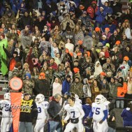 Students from Goddard cheer as Blake Sullivan (#11) scores a touchdown. The Goddard Lions defeated the Great Bend Panthers to win the KSHSAA Class 5A Sub-State Championship by a score of 50 to 21 at Memorial Field in Great Bend, Kansas on November 18, 2016. (Photo: Joey Bahr, www.joeybahr.com)