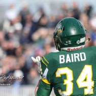 Pratt Greenback Logan Baird (#34) looks back to catch a pass for a touchdown. The Pratt Greenbacks defeated the Hayden Wildcats 48 to 14 to win the KSHSAA Class 4A Division II State Championship Game at Salina Stadium in Salina, Kansas on November 26, 2016. (Photo: Joey Bahr, www.joeybahr.com)
