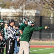 Pratt Greenback Head Coach Jamie Cruce calls out to a player to get into the right position. The Pratt Greenbacks defeated the Hayden Wildcats 48 to 14 to win the KSHSAA Class 4A Division II State Championship Game at Salina Stadium in Salina, Kansas on November 26, 2016. (Photo: Joey Bahr, www.joeybahr.com)