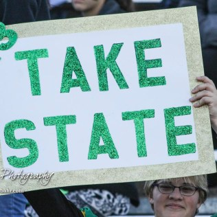 A fan holds up a sign for Pratt Greenback Justin Lamatsch (#73). The Pratt Greenbacks defeated the Hayden Wildcats 48 to 14 to win the KSHSAA Class 4A Division II State Championship Game at Salina Stadium in Salina, Kansas on November 26, 2016. (Photo: Joey Bahr, www.joeybahr.com)
