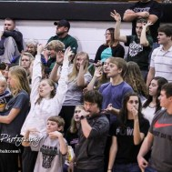 The Central Plains Oiler Student Section celebrates a made three point shot. The St. John Tigers defeated the Central Plains Oilers by a score of 62 to 31 at Central Plains High School in Claflin, Kansas on December 13, 2016. (Photo: Joey Bahr, www.joeybahr.com)