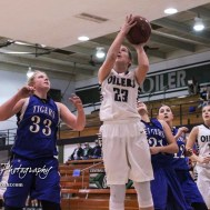 Central Plains Lady Oiler #23 Kylee Kasselman goes up for a shot near the basket. The Central Plains Lady Oilers defeated the St. John Lady Tigers by a score of 87 to 41 at Central Plains High School in Claflin, Kansas on December 13, 2016. (Photo: Joey Bahr, www.joeybahr.com)