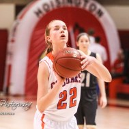 Otis-Bison Lady Cougar #22 Maddie Wiltse shoots a free throw attempt. The Otis-Bison Lady Cougars defeated the LaCrosse Lady Leopards 61 to 55 in the Girls Semi-Final of the 2017 Hoisington Winter Jam at Hoisington Activity Center in Hoisington, Kansas on January 20, 2017. (Photo: Joey Bahr, www.joeybahr.com)