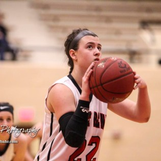 Great Bend Lady Panther #22 Carley Brack lines up a free throw attempt. The Great Bend Lady Panthers defeated the Hays Lady Indians by a score of 54 to 41 at Great Bend High School in Great Bend, Kansas on January 10, 2017. (Photo: Joey Bahr, www.joeybahr.com)