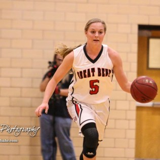 Great Bend Lady Panther #5 Camryn Dunekack brings the ball down the court. The Great Bend Lady Panthers defeated the Hays Lady Indians by a score of 54 to 41 at Great Bend High School in Great Bend, Kansas on January 10, 2017. (Photo: Joey Bahr, www.joeybahr.com)