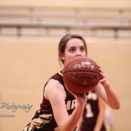 Hays Lady Indian #21 Savannah Schneider shoots a free throw attempt. The Great Bend Lady Panthers defeated the Hays Lady Indians by a score of 54 to 41 at Great Bend High School in Great Bend, Kansas on January 10, 2017. (Photo: Joey Bahr, www.joeybahr.com)