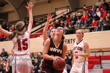 Hays Lady Indian #43 Maddie Keller stops to go up for a layup. The Great Bend Lady Panthers defeated the Hays Lady Indians by a score of 54 to 41 at Great Bend High School in Great Bend, Kansas on January 10, 2017. (Photo: Joey Bahr, www.joeybahr.com)